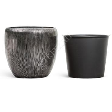 Кашпо TREEZ EFFECTORY Wow стальное серебро фото